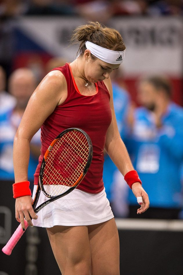 Ruská tenistka Anastasija Pavljučenkovová během utkání s Karolínou Plíškovou ve finále Fed Cupu.
