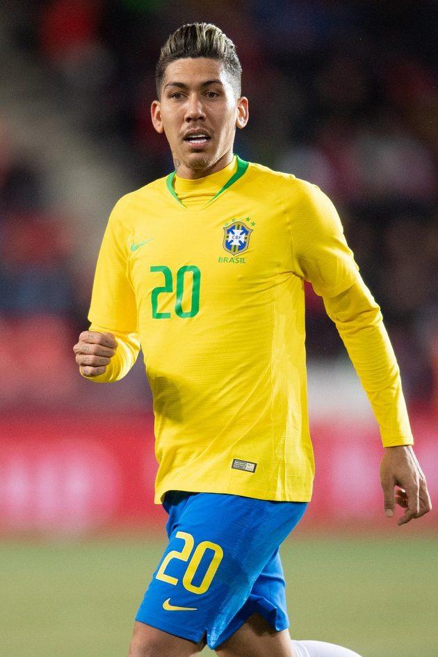Roberto Firmino z Brazílie během přátelského utkání v Praze.
