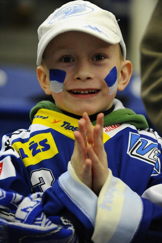 Malý fanoušek Brna při čtvrtfinále s Plzní.