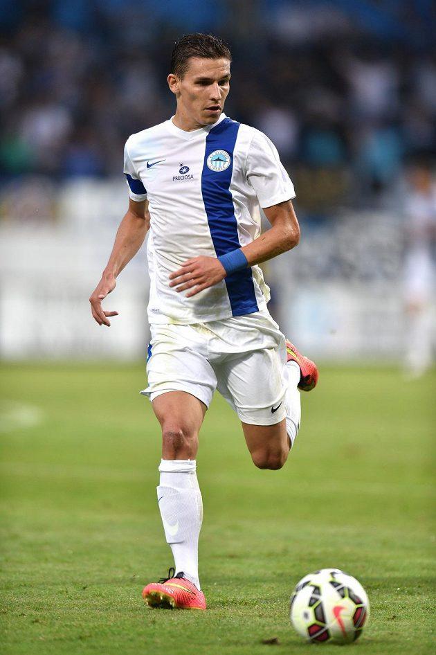 Liberecký záložník David Pavelka během odvety 2. předkola Evropské ligy proti Košicím.
