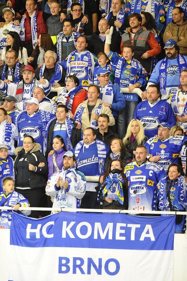 Fanoušci Komety Brno v utkání s Třincem.