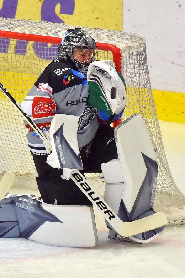 Brankář Karlových Varů Filip Novotný během utkání hokejového Poháru Generali České pojišťovny.