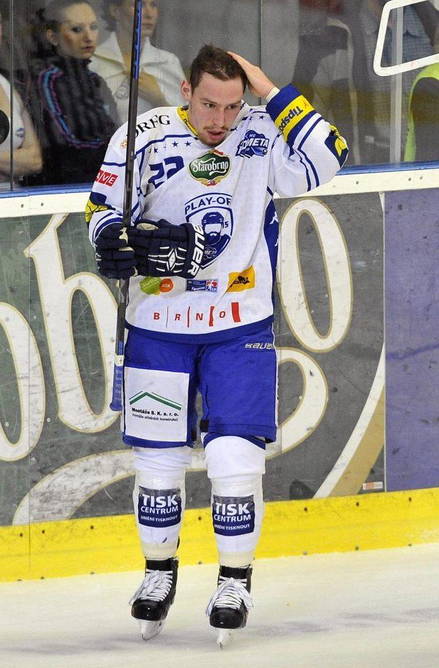 Jan Káňa z Brna ve čtvrtém semifinále s Litvínovem.
