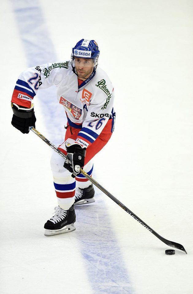 Útočník Martin Ručinský v zápase s Ruskem.