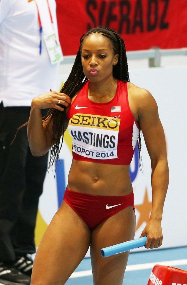 Natasha Hastingsová, členka vítězné americké štafety na 4x400 m.