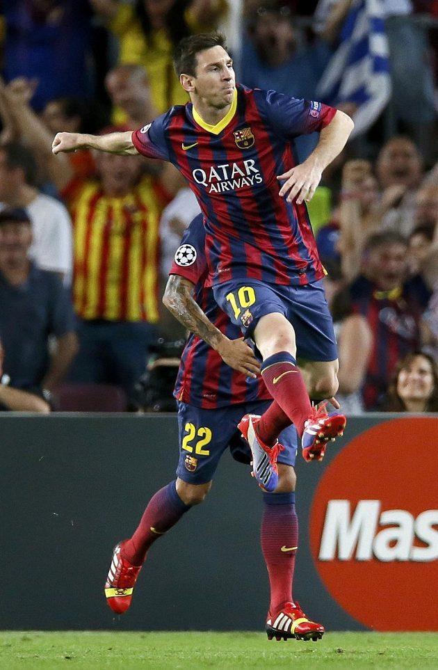 Záložník Barcelony Lionel Messi a jeho radost po vstřelení gólu do sítě Ajaxu Amsterdam.
