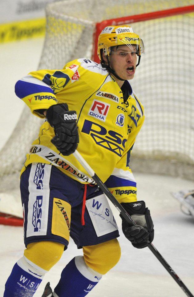 Zlínský útočník Roman Vlach se raduje z gólu.