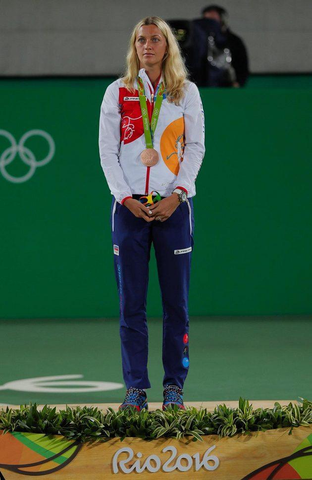Petra Kvitová s bronzovou medailí.