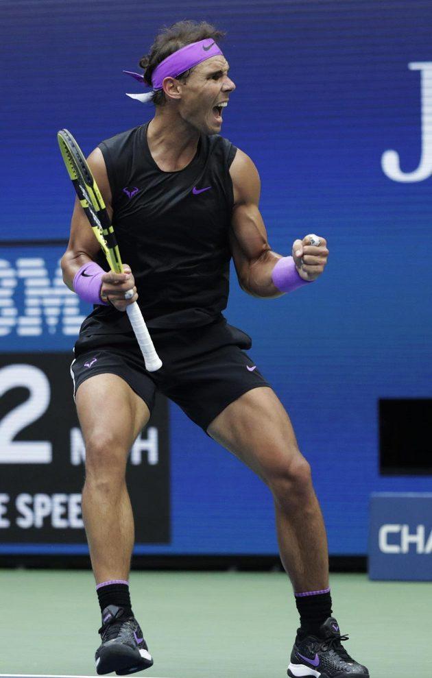 Euforie Rafaela Nadala během finále US Open.