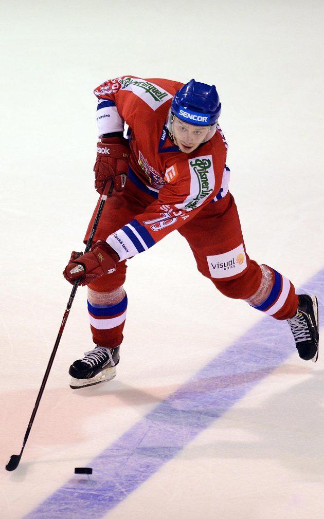 Český hokejový útočník Tomáš Zohorna v utkání s Dánskem.
