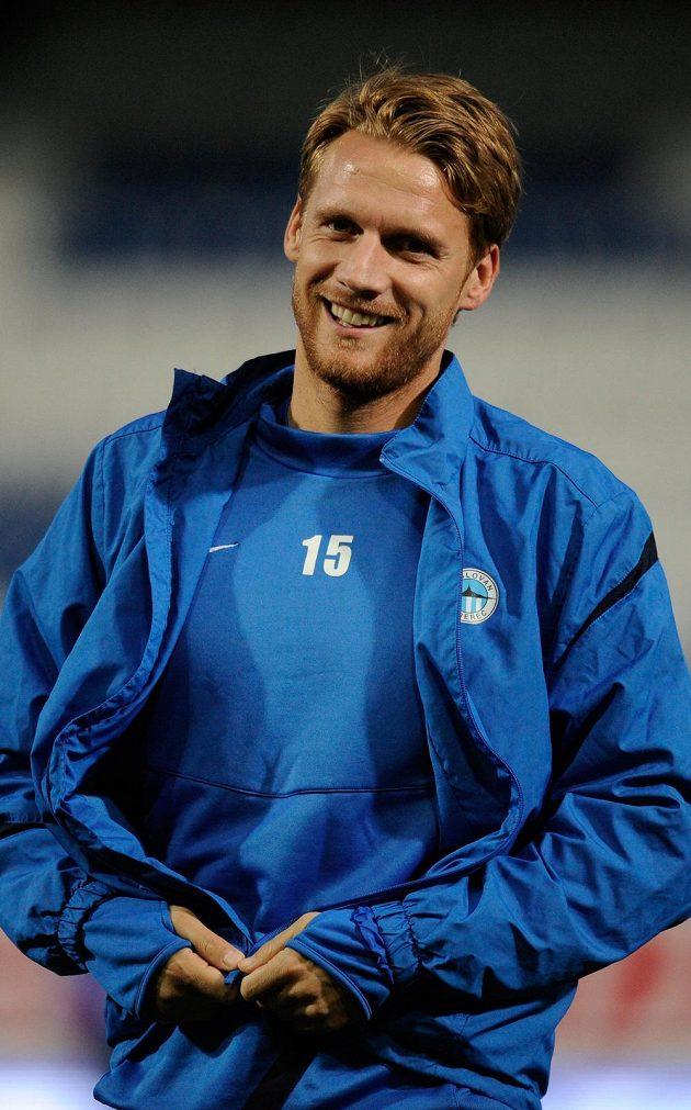 Radoslav Kováč ze Slovanu Liberec na tréninku před zápasem se Sevillou.