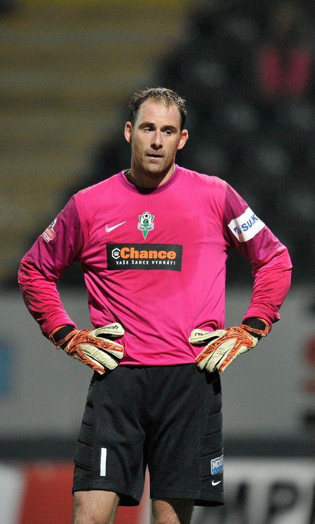 Zklamaný jablonecký brankář Michal Špit poté, co inkasoval gól v nastaveném čase.