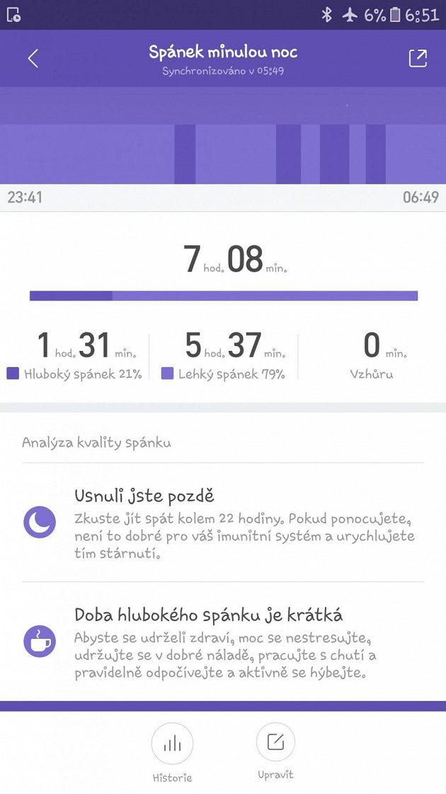 Sportovní náramek Xiaomi Mi Band 2: Aplikace hlídá neúprosně váš spánek.