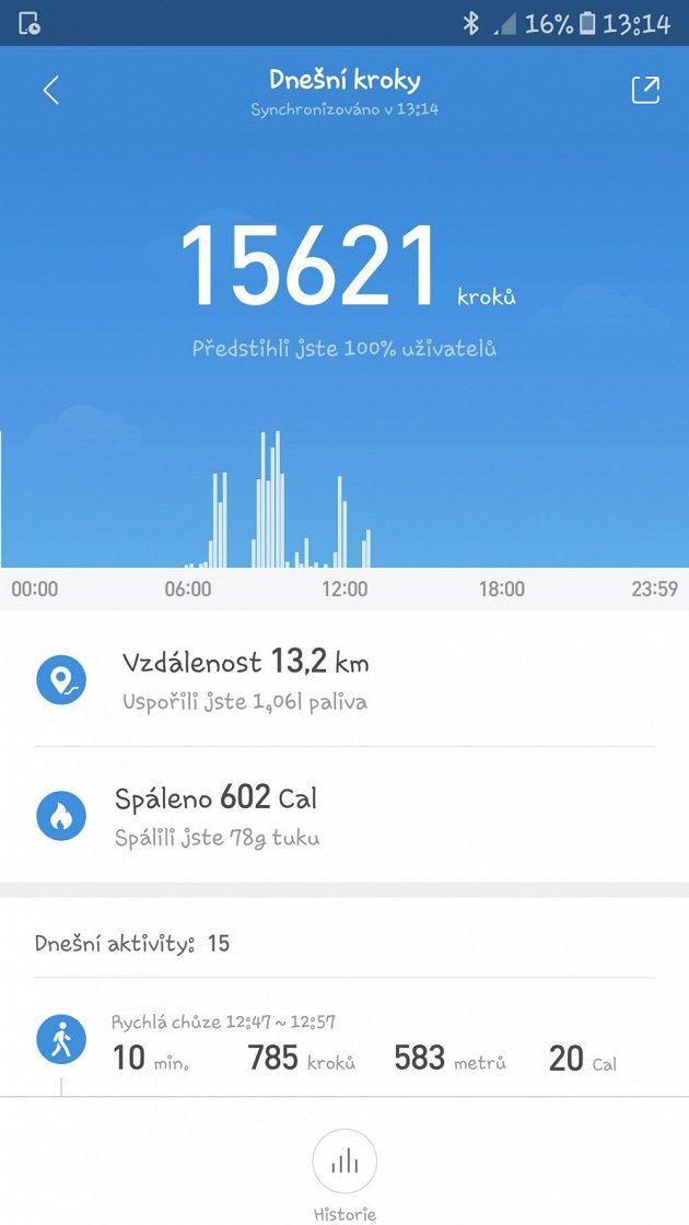 Sportovní náramek Xiaomi Mi Band 2: Dodávaná aplikace umí při srovnání s ostatními kolikrát i potěšit.