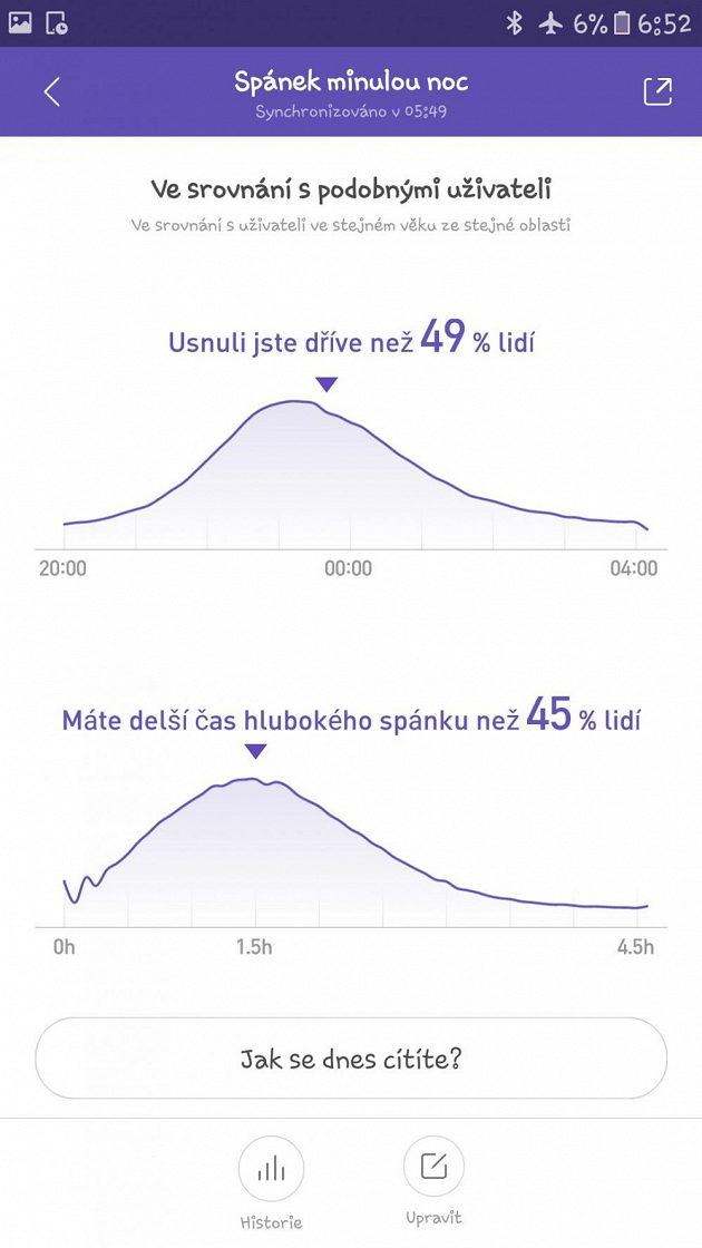 Xiaomi Huami Amazfit Bip - statistika k průběhu spánku je poměrně podrobná.