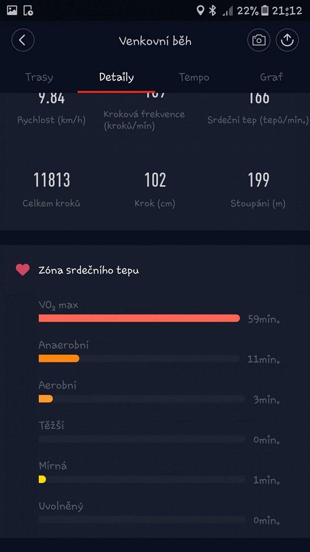 Sportovní náramek Xiaomi Mi Band 2: Doba běhu strávená v jednotlivých tepových zónách.