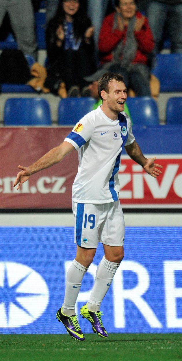 Autor prvního gólu Michael Rabušic z Liberce.