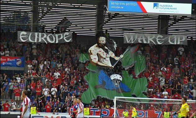Plzeň zase zaplatí za tento transparent...