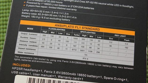 Čelovka Fenix HP25R: Tabulka deklarované výdrže a výkonu.
