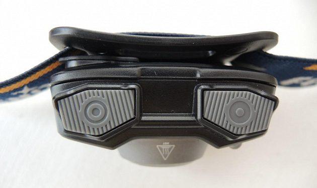 Odolná čelová svítilna Fenix HL32R - horní pohled.