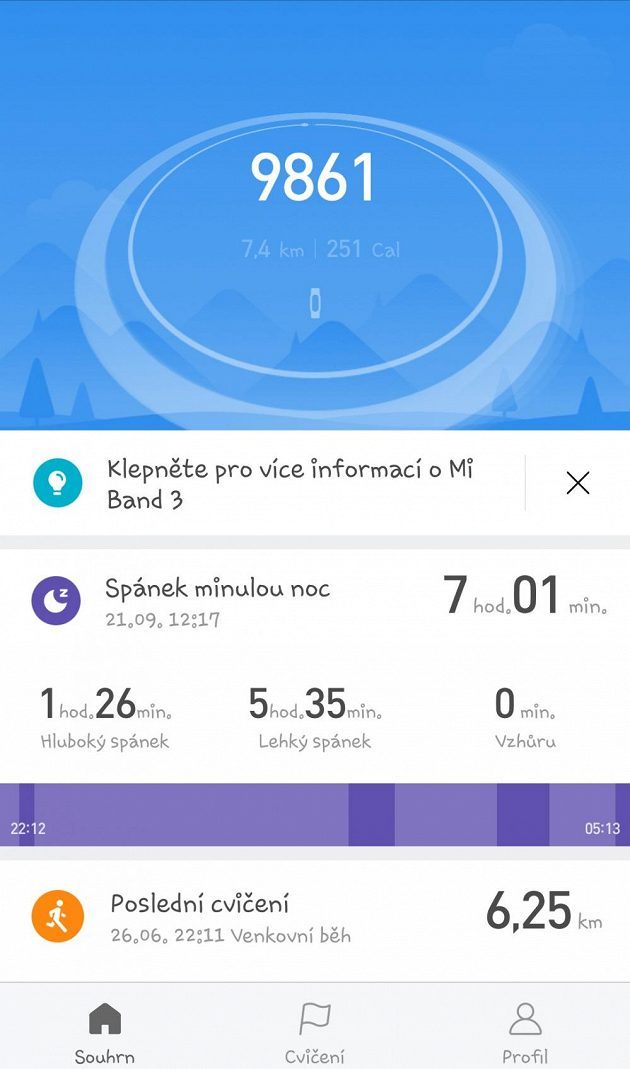 Fitness náramek Xiaomi Mi Band 3 - příklad základní obrazovky aplikace.