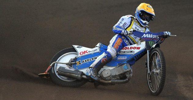 Nicki Pedersen během Grand Prix v ploché dráze na stadiónu Markéta v Praze.