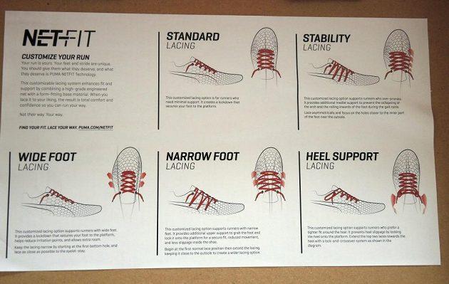 Běžecké boty Puma Ignite Netfit: základní možnosti úprav šněrování.