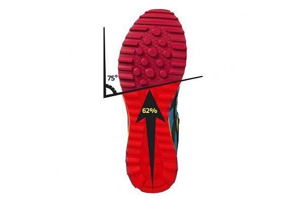 Trail T1 Shoe Men. Salming vyráží do drsného terénu. Kód 62/75°. Označuje, že se podrážky snaží věrně kopírovat pohyb chodidla a ohýbat se přesně v těch místech, kde tak činí i lidské nohy.