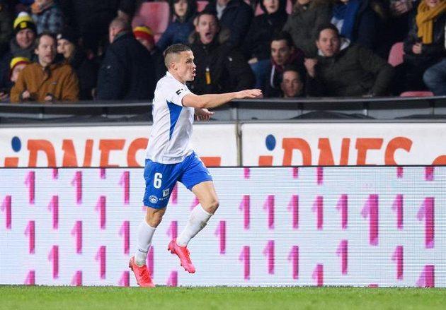 Tomáš Malinský ze Slovanu Liberec oslavuje gól na Letné.
