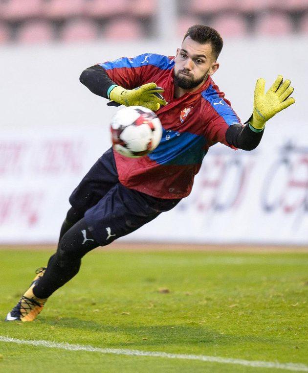 Tomáš Koubek během tréninku fotbalové reprezentace před zápasy kvalifikace MS 2018 s Ázerbájdžánem a San Marinem.