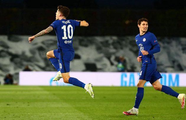 Fotbalista Chelsea Christian Pulisic se raduje z trefy proti Realu v semifinále Ligy mistrů.