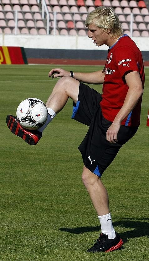 František Rajtoral na tréninku fotbalové reprezentace.