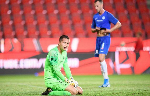 Brankář Slovanu Liberec Filip Nguyen během utkání na Slavii.