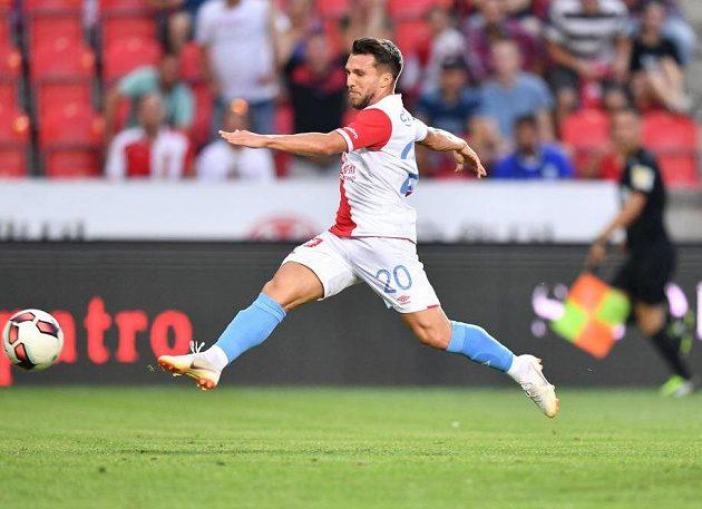 Slívista Alexandru Baluta dává Karviné gól na 4:0.
