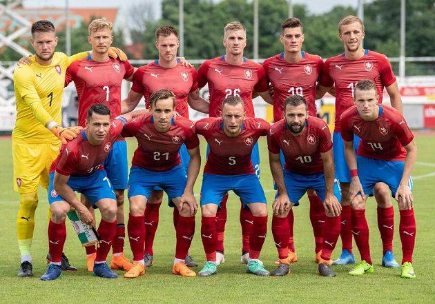 Mužstvo české reprezentacepřed duelem s Nigérií.