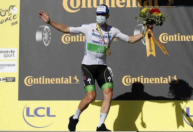 Irský cyklista Sam Bennett po hromadném spurtu poprvé vyhrál etapu na Tour de France. Měl z toho pořádnou radost.