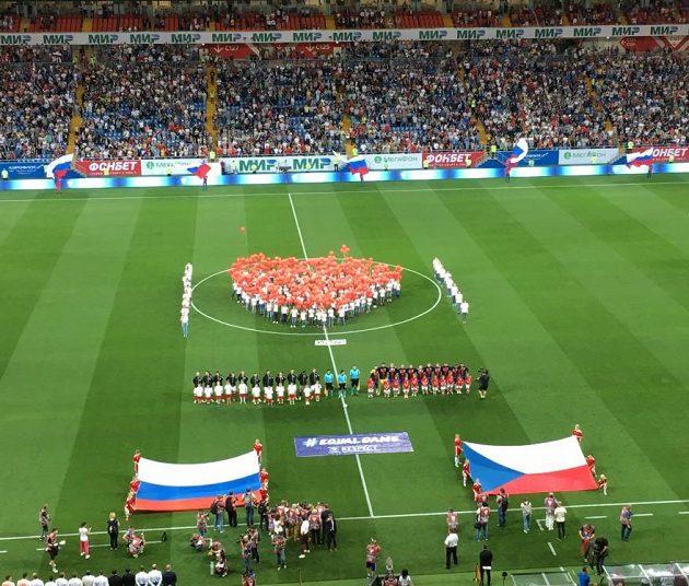 Slavnostní nástup před duelem Rusko - Česká republika v Rostově na Donu.