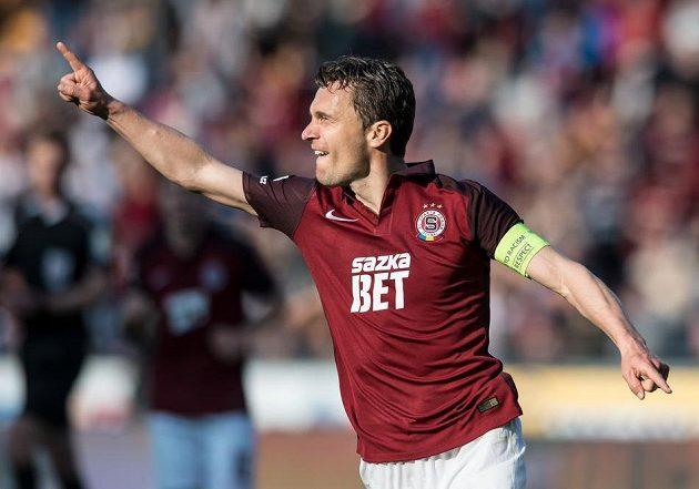 David Lafata oslavuje gól Liberci.