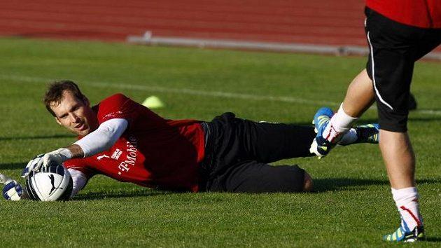 Petr Čech na tréninku národního týmu