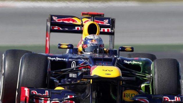 Sebastian Vettel na trati v Barceloně
