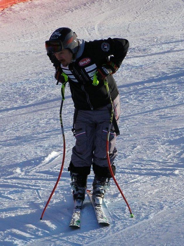 Ondřej Bank před prvním závodem světového poháru ve sjezdovém lyžování v Jižním Tyrolsku.