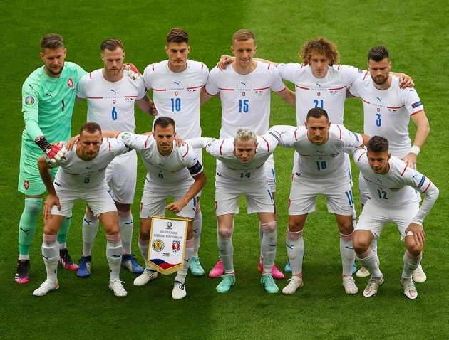 Czech team before the match with Scotland.