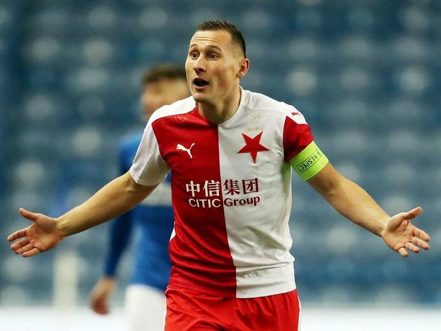 Slávista Jan Bořil v odvetě osmifinále Evropské ligy proti Glasgow Rangers.