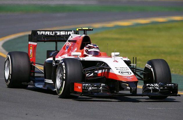 Marussia řízená Maxem Chiltonem během prvního tréninku na GP Austrálie.