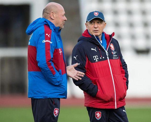 Trenéři Miroslav Koubek (vlevo) a Karel Jarolím.