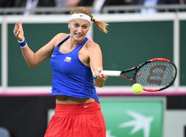 Petra Kvitová během zápasu s Belindou Bencicovou.