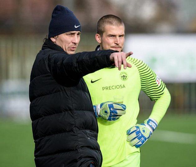 Liberecký trenér brankářů Marek Čech a Václav Hladký.