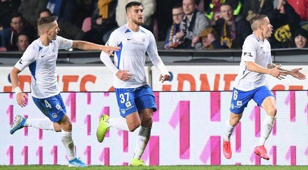 Liberecká radost po gólu Tomáše Malinského na Letné.