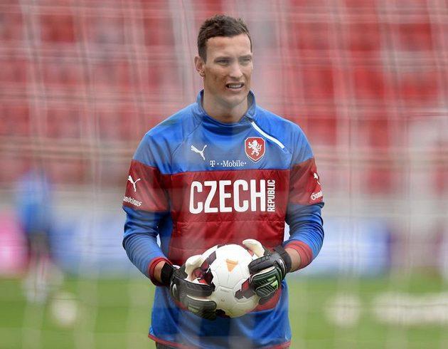 Brankář Marek Štěch během svého prvního tréninku v reprezentaci.
