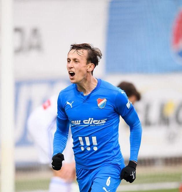 Daniel Tetour z Baníku Ostrava oslavuje gól.